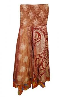 Womens Recycled Vintage Silk Sari Two layer Bohemian Hippie Holiday Dress Skirt