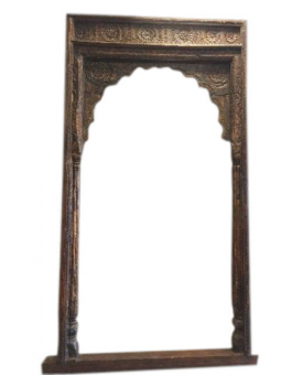 Vintage 18c Hand Carved Sun Medallion Arch Columns Huge Haveli Entrance Gate