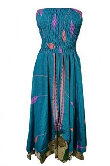 Womens Beach Dress Vintage Silk Sari Two layer Boho Hippie Maxi Skirt Suundress (Teal Blue)