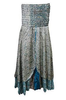 Womens Maxi Skirt Vintage Silk Sari Two layer Bohemian Hippie Beach Holiday Dress (Blue, White)